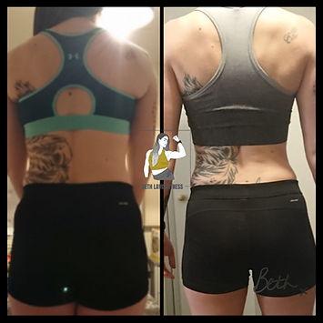 Onlein Coaching client of Beth Lavis Fitness, Stephanie, muscle gain body transformation.