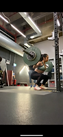 Picture of one to one client of Beth Lavis Fitness performing a barbell back squat
