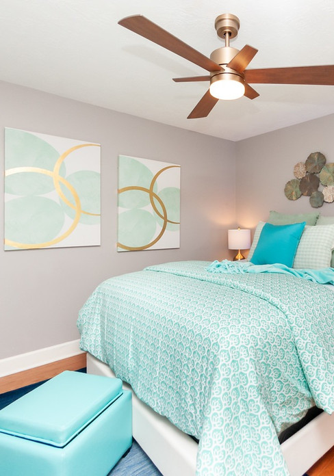 Light and airy bedroom staging
