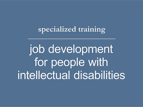 Job Development for People with Intellectual Disabilities