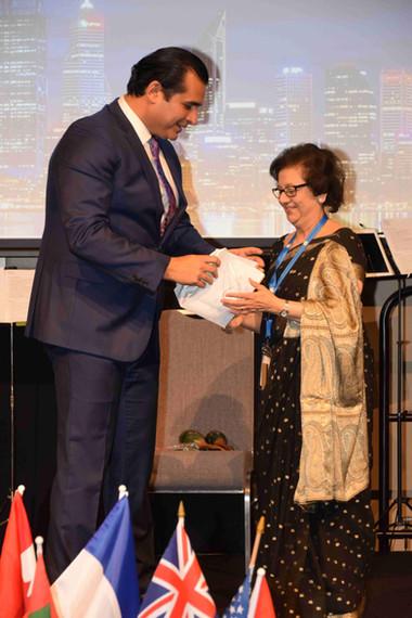 Receiving award at World Zoroastrian Congress
