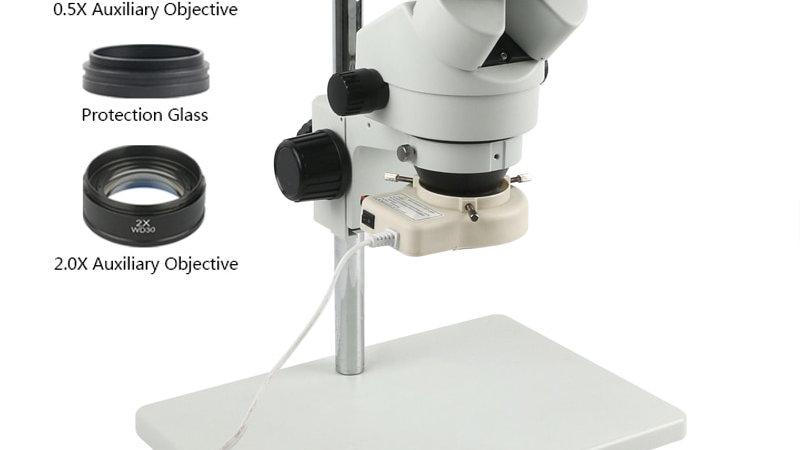 Simul-Focal 7x-45x Trinocular Stereo Microscope Industrial PCB  LED Light