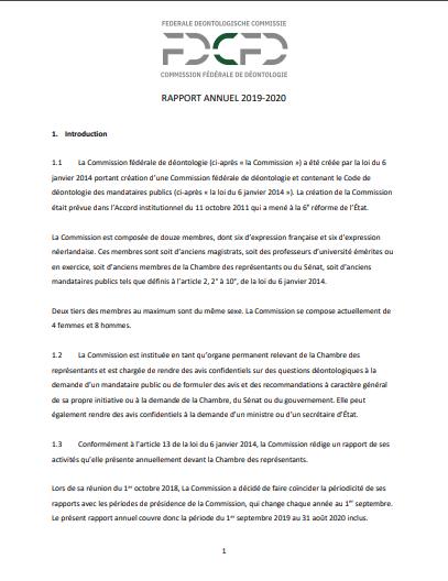 Commission fédérale de déontologie de la Belgique