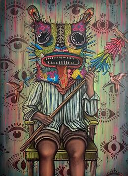 El guardian, mixed media on canvas, 30 x