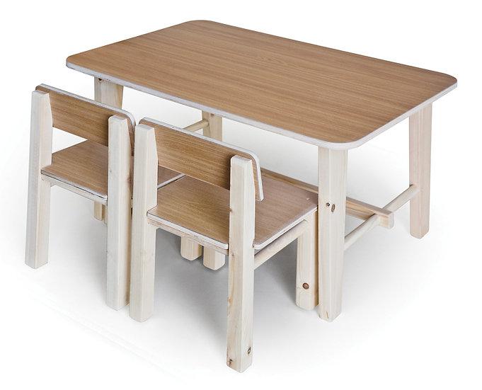 שולחן עץ + 2 כסאות