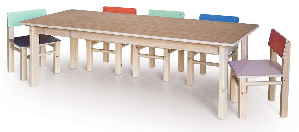 שולחן רגלי עץ + 6 כסאות