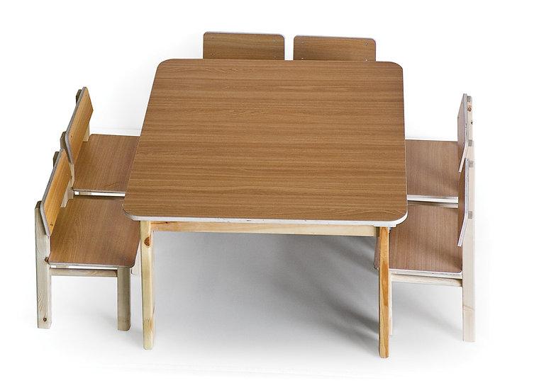 שולחן עץ + 8 כסאות בוק