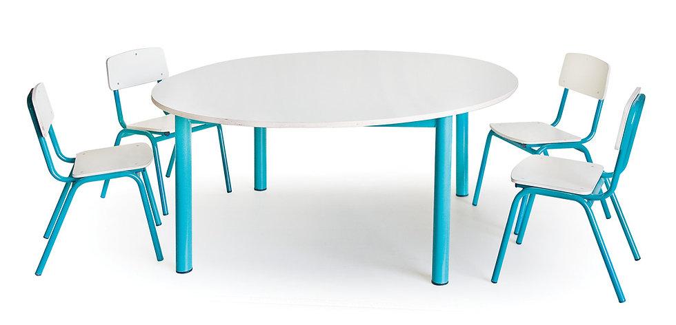 שולחן עגול + 4 כסאות