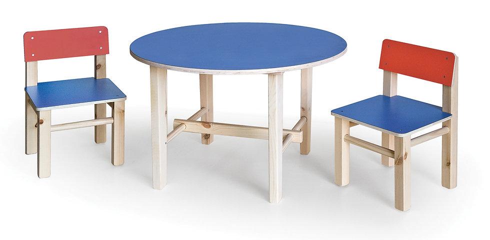 שולחן עץ עגול + 2 כסאות - צבעוני