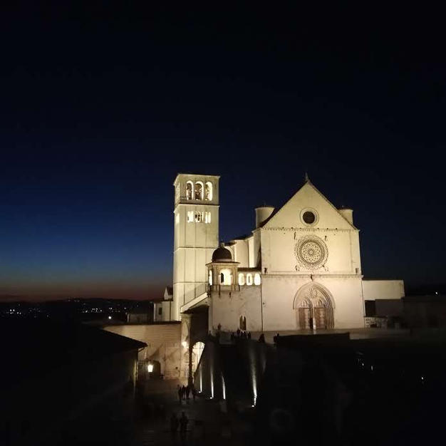 The Basilica of St Francis by night