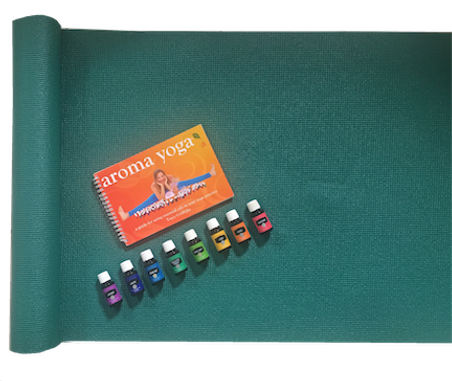 yoga mat with aroma yoga book and essent