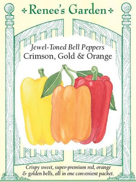 Renee's Garden Jewel-Toned Bell Peppers Crimson, Gold & Orange Seed Packet