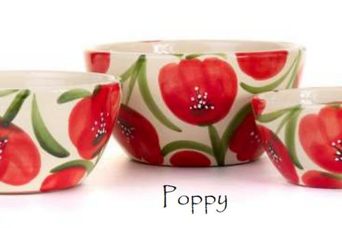 Poppy Round Bowls