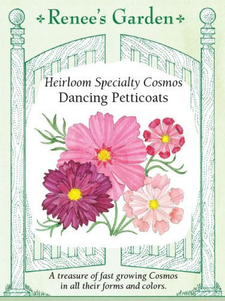 Renee's Garden Heirloom Specialty Cosmos Dancing Petticoats Seed Packet