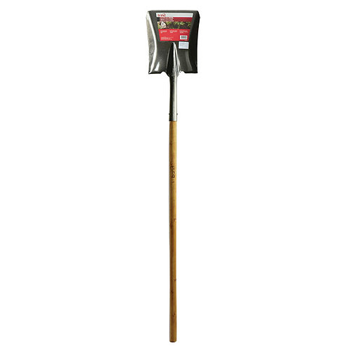 Long Wood Handle Square Point Shovel