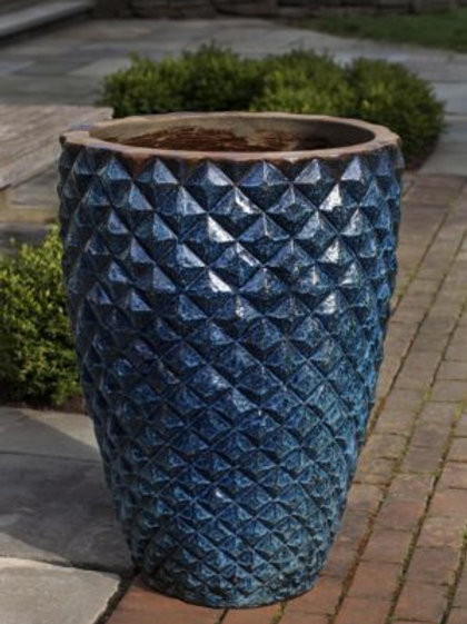 Facet Planter, Tall-Rustic Blue Pottery