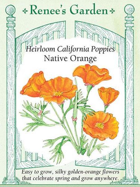 Renee's Garden Heirloom California Poppies Native Orange Seed Packet