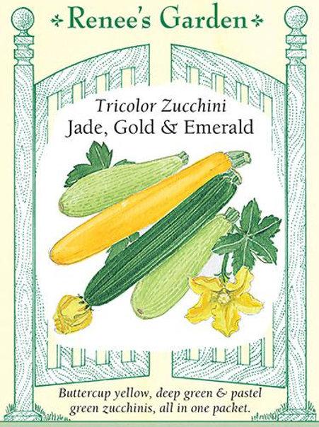 Renee's Garden Tricolor Zucchini Jade, Gold & Emerald Seed Packet