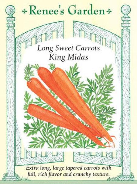 Renee's Garden Long Sweet Carrots King Midas Seed Packet