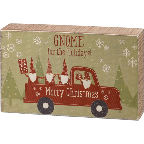 Gnome For The Holidays Box Sign
