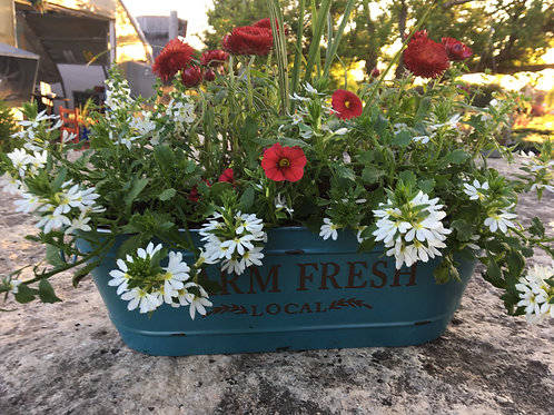 Turquoise Farmhouse Container (Large) Red, White and Blue