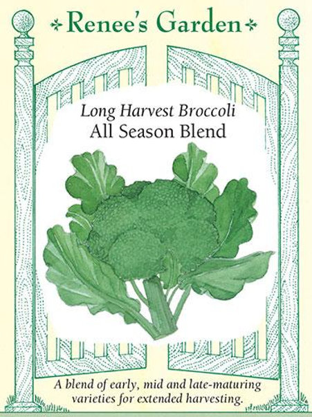 Renee's Garden Long Harvest Broccoli All Season Blend Seed Packet