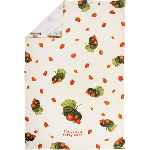I Love You Berry Much Dish Towel