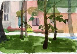 George Washington Chapel through Trees, Valley Forge PA