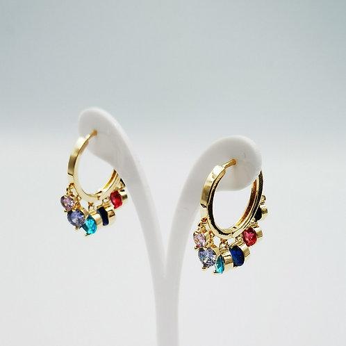 Σκουλαρίκια πολύχρωμες πέτρες