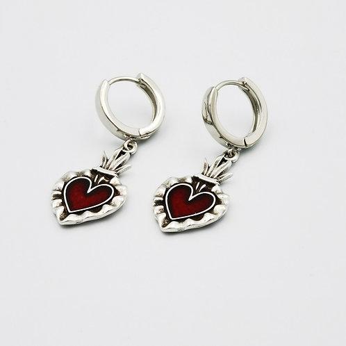 Σκουλαρίκια κόκκινη καρδιά