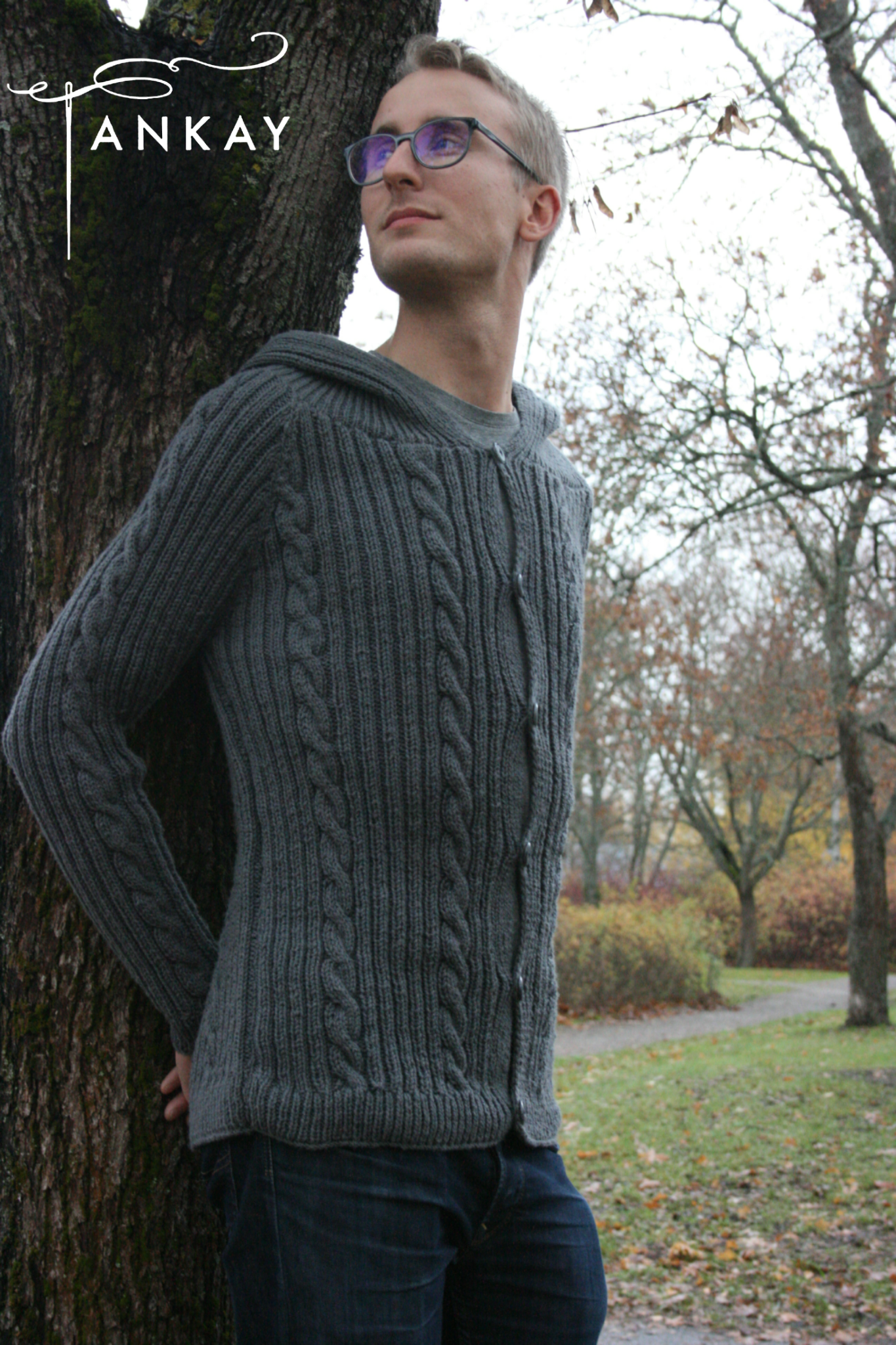 Cardigan, knitted, men's
