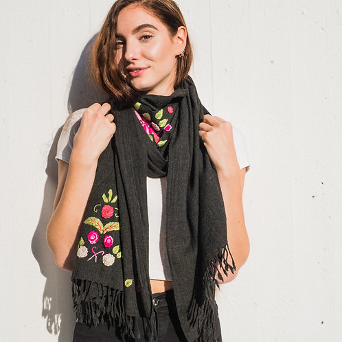 Scarf, black, embroided