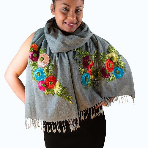 Scarf, grey, embroided