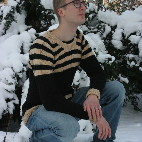 Sweater with pocket, knitted, men's