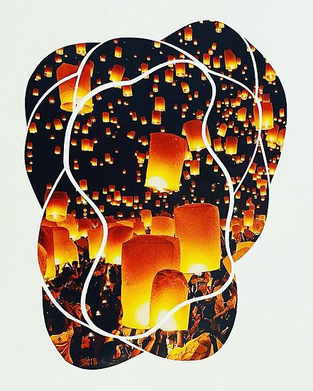 """Paper Lantern Scissor Meditation"" Collage"