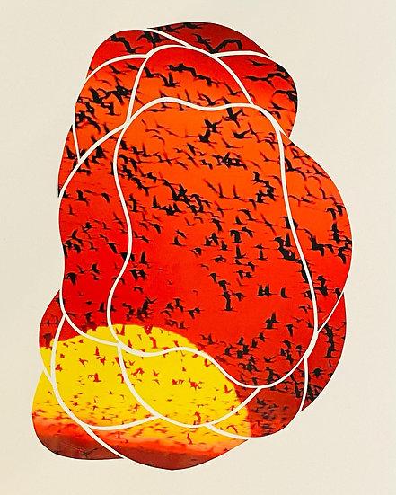 """Crane Sunrise Scissor Meditation"" Collage"