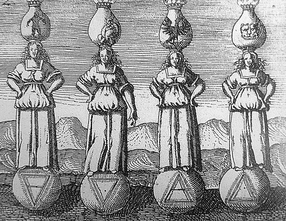 La raffigurazione dei quattro elementi (da sinistra) terra, acqua, aria e fuoco, con le sfere alla base rappresentanti i simboli dell'alchimia.