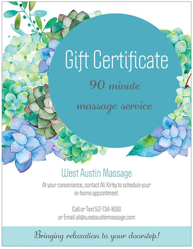 Printable Gift Certificate 90 minute massage