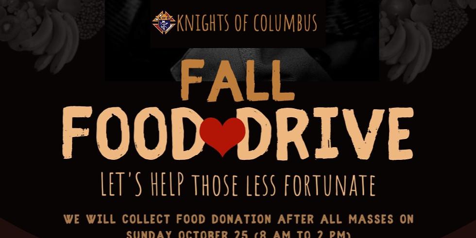Fall Food Drive Oct 25th