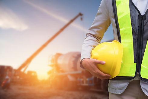 Engineer or Safety officer holding hard