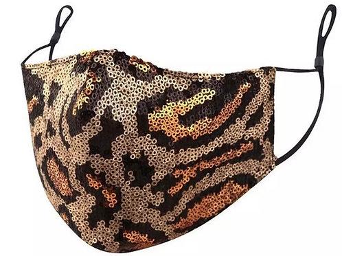 Leopard Sequin Face Cover