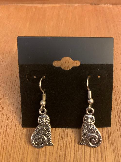 Cat Earrings- Silver in Color