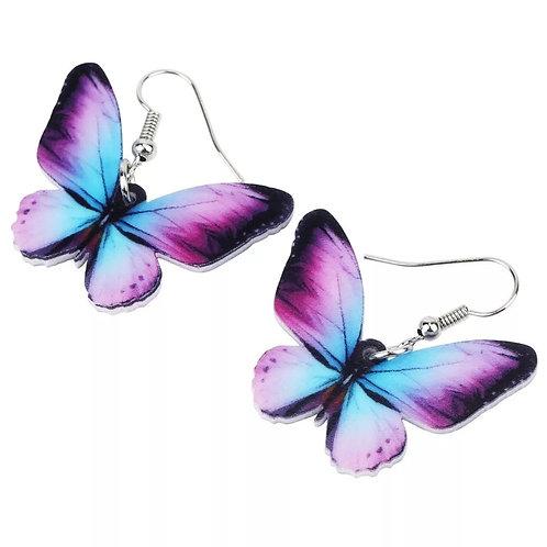 Purple and Blue Butterfly Earrings