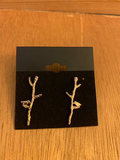 Bird on Branch Earrings- Gold in Color