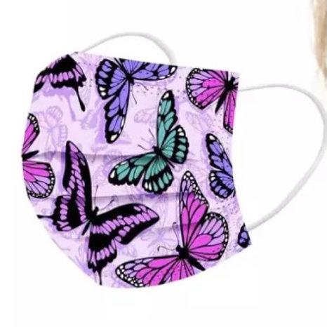10 Pack of Purple Butterfly Disposable Face Cover