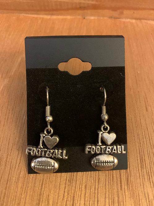 I Love Football Earrings