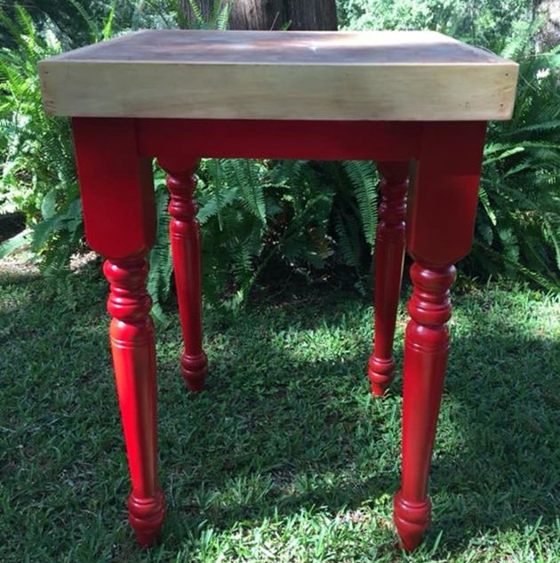 Bright red wood base with butcher block