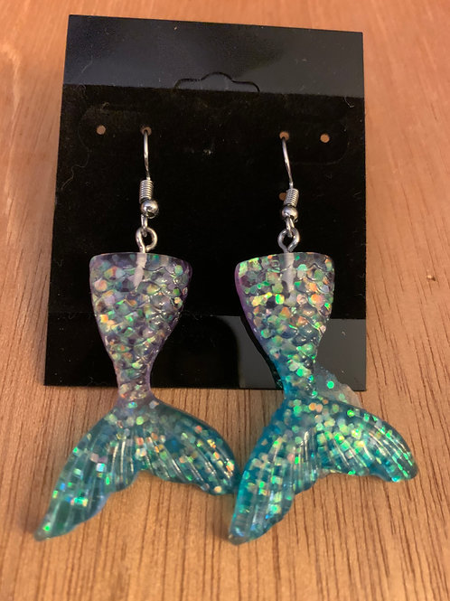 Mermaid Tail Earrings Blue & Silver Sparkle
