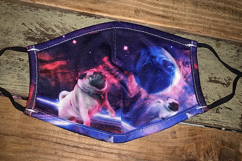 Pug in Space Face Cover