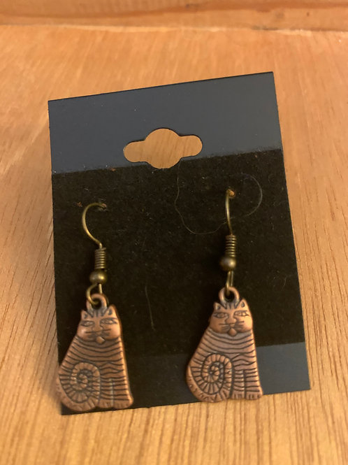 Cat Earrings- Copper in Color
